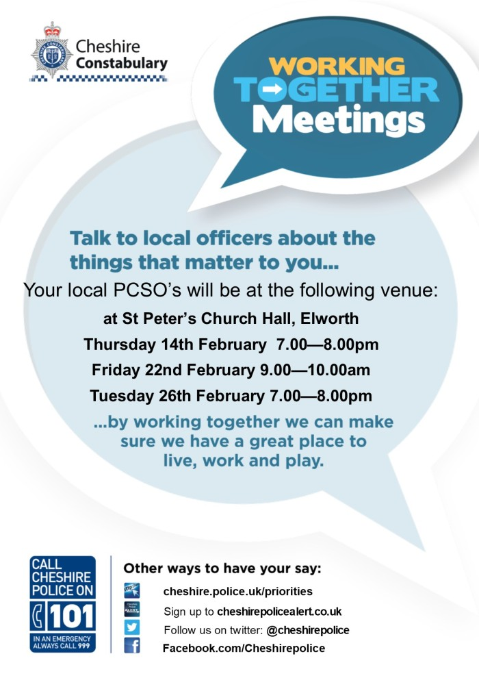 Working Together Meetings A4 Poster St Peter's Church Hall Feb 2